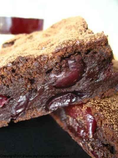 recette - brownies chocolat et cerises, sans beurre