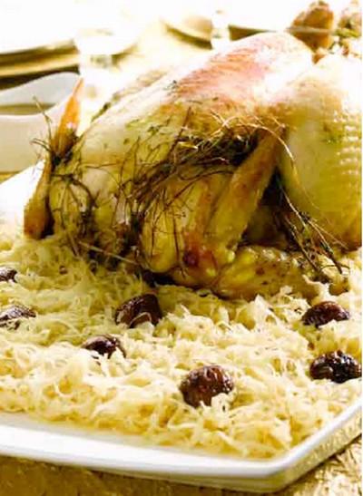 recette - chapon & choucroute à l'infusion de foin