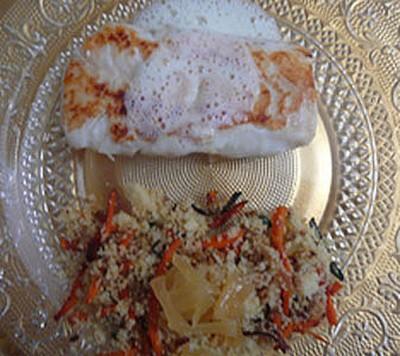 recette - filet de cabillaud, beurre mousseux au combava, semoule aux légumes
