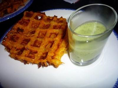 recette - gaufre de patate douce et son velouté crocodile