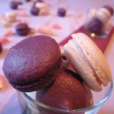 recette - macarons violette / cassis et macarons à la rose