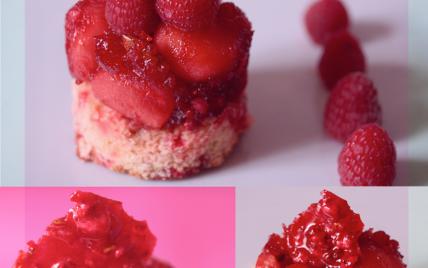 recette - pommes caramelisées aux pralines roses sur brioche perdue
