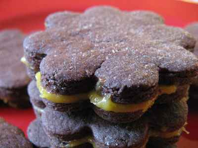 recette - sablés chocolat fourrés lémon curd