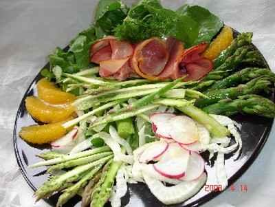 recette - salade variée aux asperges à l'orange (recette light)
