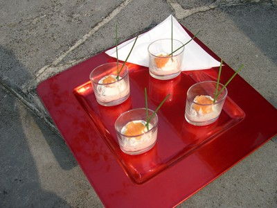 recette - verrine de ricotta et saumon fumé