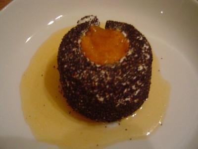 recette - chèvre frais au pavot, farci aux abricots et tomates autour de la lava