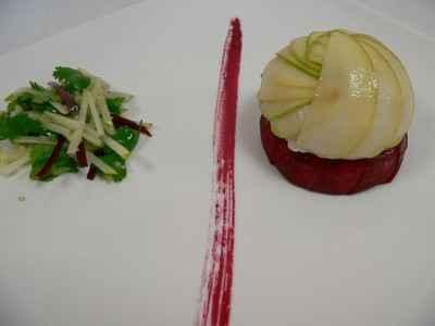 recette - comme un gâteau de lieu jaune, savarin quinoa et betterave, salade fra
