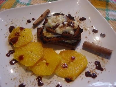 recette - mille feuilles de pain d'épices au miel de sarrazin, au pralin et au f