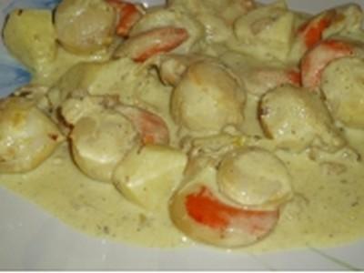 recette - noix de saint jacques à la crème au curry