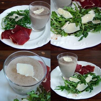 recette - pannacotta de champignons, roquette et viande de grison