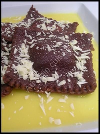 recette - raviolis au chocolat fourrés à la mandarine et au grand marnier
