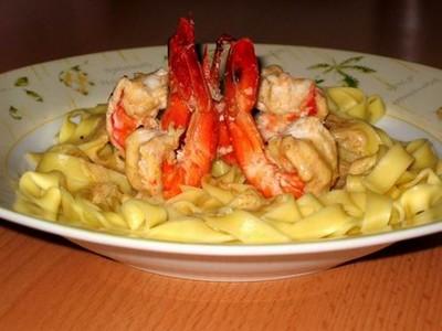 recette - tagliatelles aux crevettes