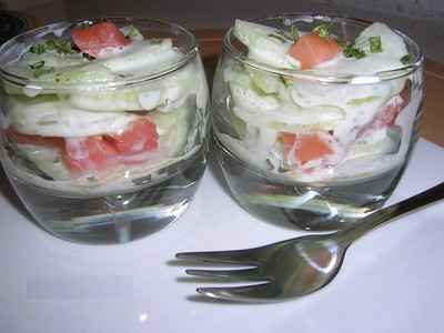 recette - verrines saumon/concombre