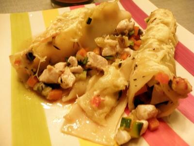 recette - cannellonis aux petits légumes et à la volaille
