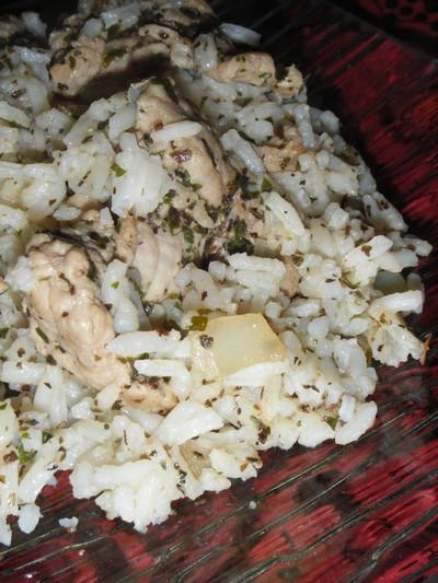 recette - escalope de poulet et son riz vert