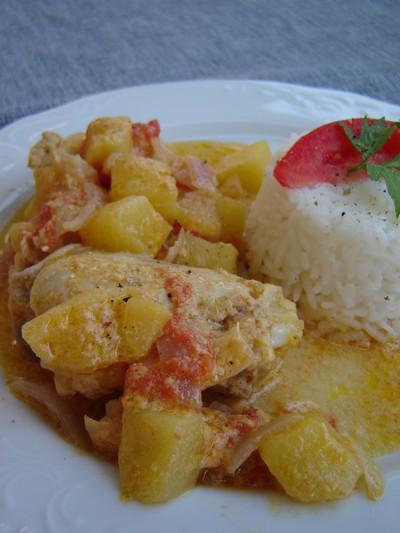 recette - fricassée de poulet au lait de coco
