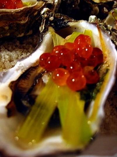 recette - huîtres farcies, julienne de poireau et oeufs de saumon