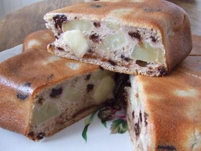recette - moelleux poire/marron aux pépites de chocolat