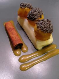 recette - panna cotta à la cannelle et ses billes de pommes calvamélisée