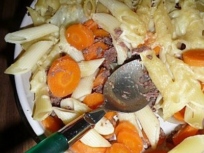 recette - pennes aux rillettes d'autruche