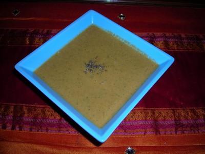 recette - veloué de potimarron au champignons et basilic
