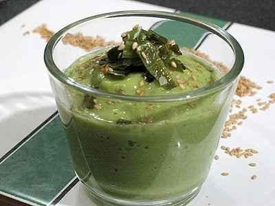 recette - velouté de courgettes au soja et au sésame