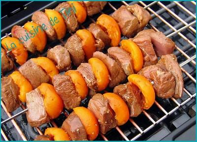 recette - brochettes de magret de canard aux abricots
