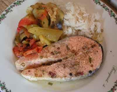 recette - darnes de saumon aux 5 baies