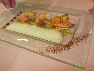 recette - gambas marinées, julienne de légumes acidulés et écume d'orange