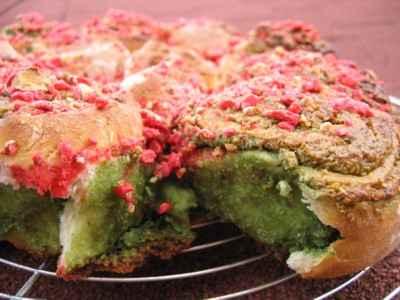 recette - gâteau façon chinois en rose et vert