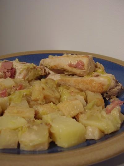 recette - poulet au lard
