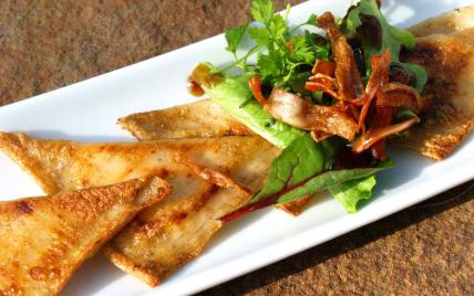 recette - raviolis tout surimi, farce à la pomme parfumée au raifort