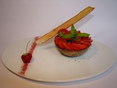 recette - rhubarbe et violette.....comme un clafoutis....carpaccio de fraises au