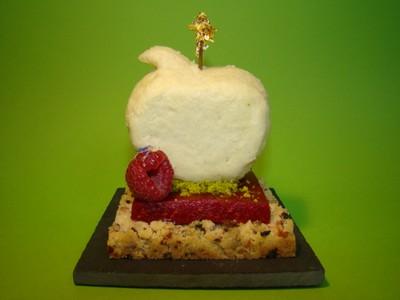 recette - sensation d'un crumble....pomme, framboise fleurs et fruits