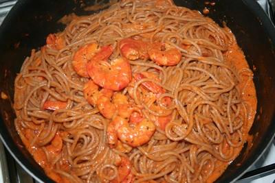 recette - spaghettis aux gambas