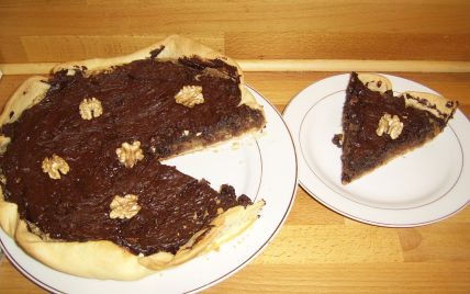 recette - tarte aux noix et chocolat