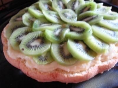 recette - tarte génoise aux kiwis