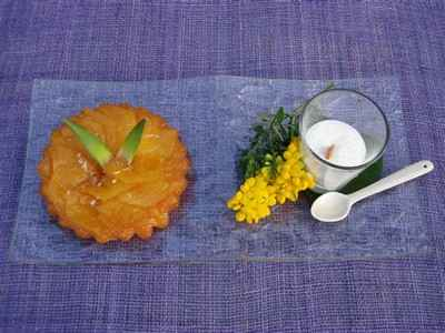 recette - tarte tatin ananas, emulsion coco