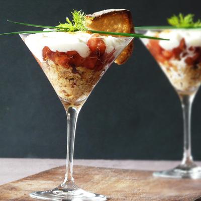 recette - tiramisu de tomate à la crème chèvre/fenouil et noisettes croquantes