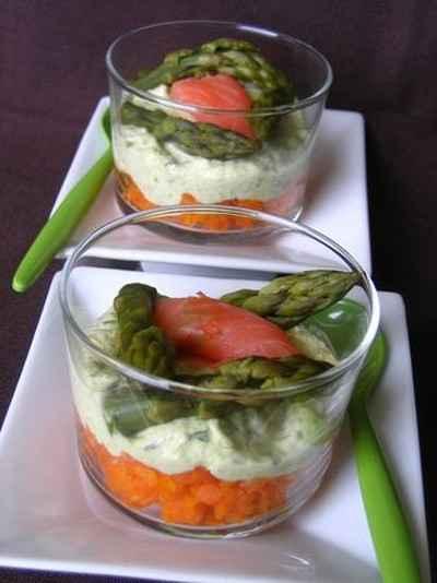 recette - verrine de carottes et d'asperges