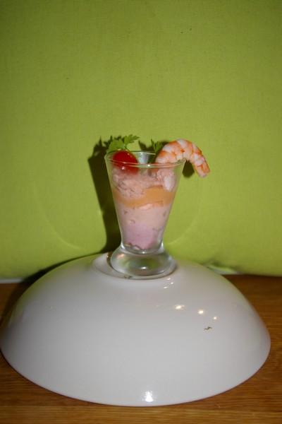 recette - verrine tarama, saumon et crevettes