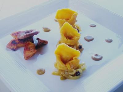recette - capelleti de butternut au pintadeau sauce aux foies de volaille