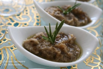 recette - caviar d'aubergine au miel et romarin