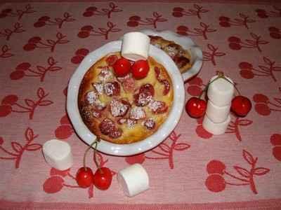 recette - clafoutis aux cerises et sirop de guimauves