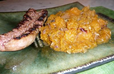 recette - compotée de potiron à l'ail et aux échalotes