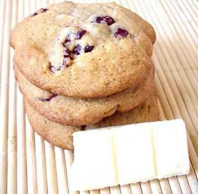 recette - cookies au chocolat blanc et aux cranberries
