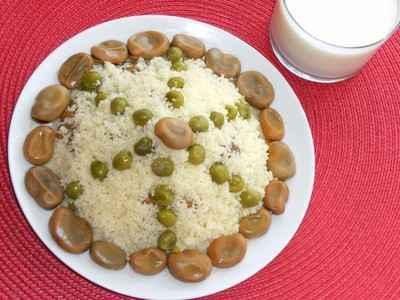 recette - couscous messfouf aux fèves et aux petits pois