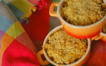 recette - crumble de poivrons à la réduction de vinaigre de xéres
