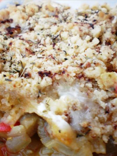 recette - crumble ratatouille / chèvre, aux épices