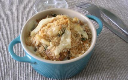 recette - gratin de topinambours et châtaignes aux cèpes